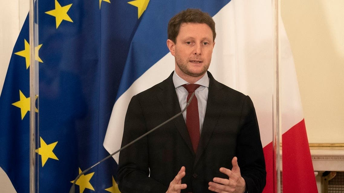 A file photo shows French minister for European affairs Clement Beaune speaks at a press conference after his meeting with Austrian minister for European affairs at the Austrian chancellery in Vienna, Austria, on November 9, 2020. (Joe Klamar/AFP)