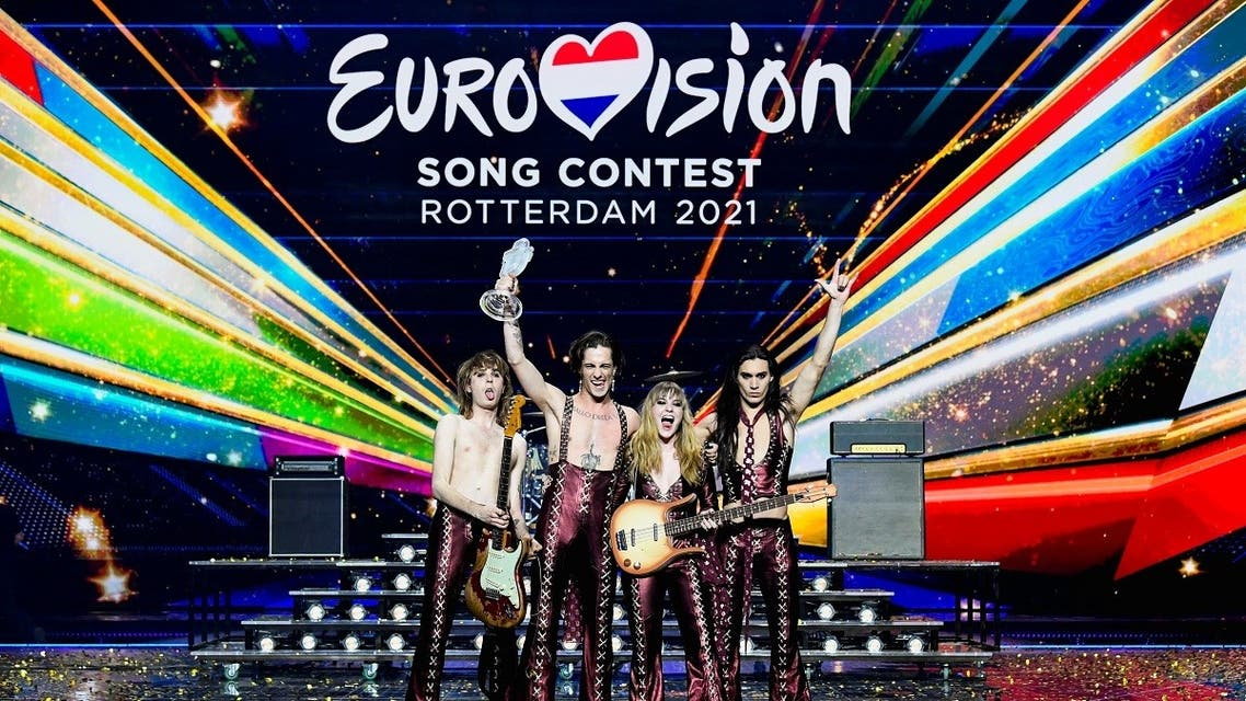 Maneskin of Italy appear on stage after winning the 2021 Eurovision Song Contest in Rotterdam, Netherlands, May 23, 2021. (AFP)