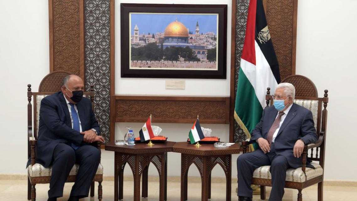 عباس يستقبل شكري في رام الله