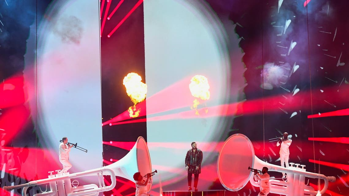 Participant James Newman of Britain performs during the final of the 2021 Eurovision Song Contest in Rotterdam, Netherlands, May 22, 2021. (Reuters)