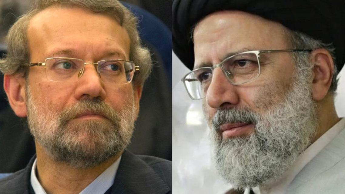 مرشحا الانتخابات الرئاسية في إيران من اليمين ابراهيم رئيسي وإلى اليسار علي لاريجاني