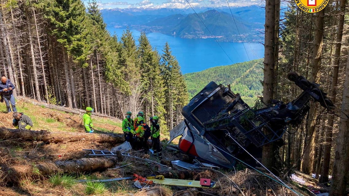 A crashed cable car is seen after it collapsed in Stresa, near Lake Maggiore, Italy May 23, 2021. (Reuters)