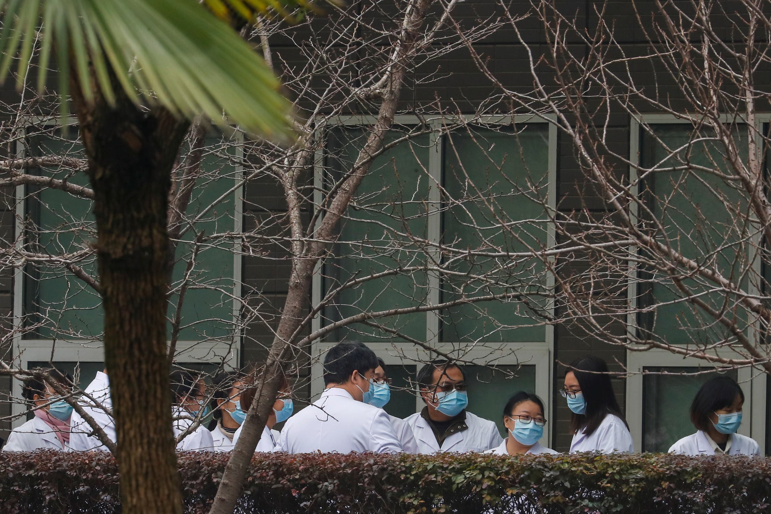 Chinese scientists and officials in lab coats wait at the Hubei Animal Epidemic Disease Prevention and Control Center during a visit of a team of the World Health Organization (WHO), tasked with investigating the origins of the coronavirus disease (COVID-19), in Wuhan, Hubei province, China February 2, 2021. (File photo: Reuters)