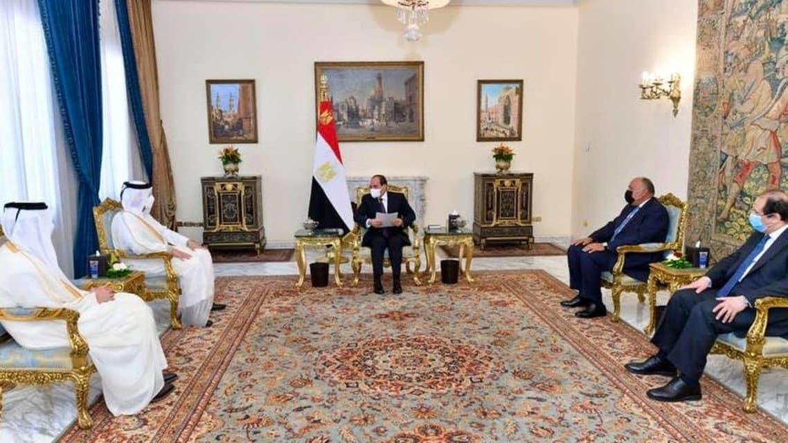 السيسي يستقبل وزير خارجية قطر 25 مايو2021
