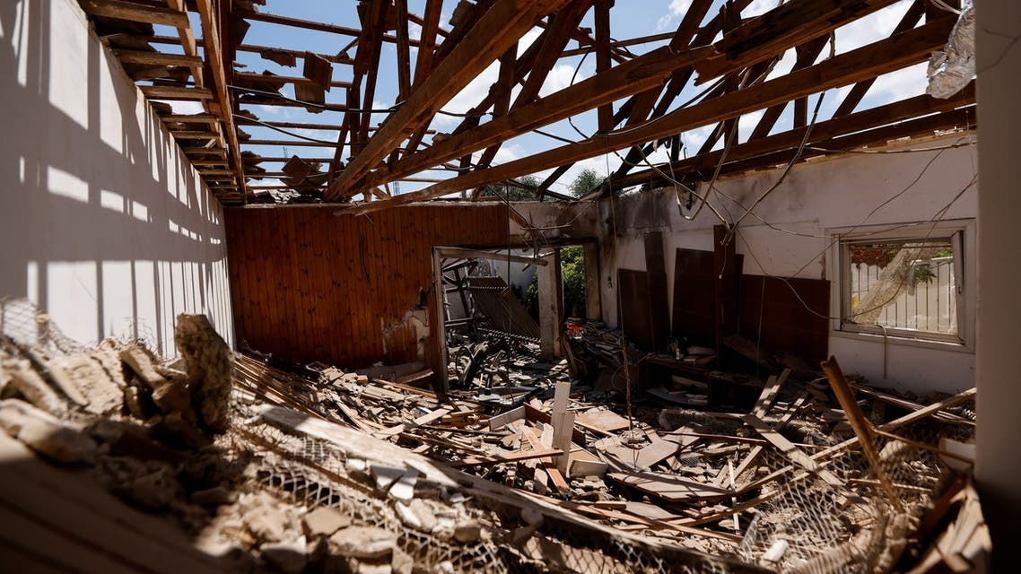 Debris is seen in the house of Uri Kimhi, 88, after it was hit by a rocket launched from the Gaza Strip during the recent Israeli-Palestinian fighting, in Ashkelon, Israel May 23, 2021. Picture taken May 23, 2021. REUTERS/Amir Cohen