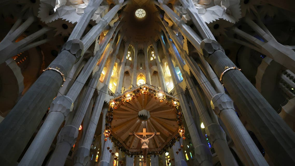 An interior of the landmark Sagrada Familia basilica is seen, closed since October of last year, delaying its target of finishing construction by 2026, amid the coronavirus disease (COVID-19) pandemic in Barcelona Spain, May 18, 2021. (Reuters)