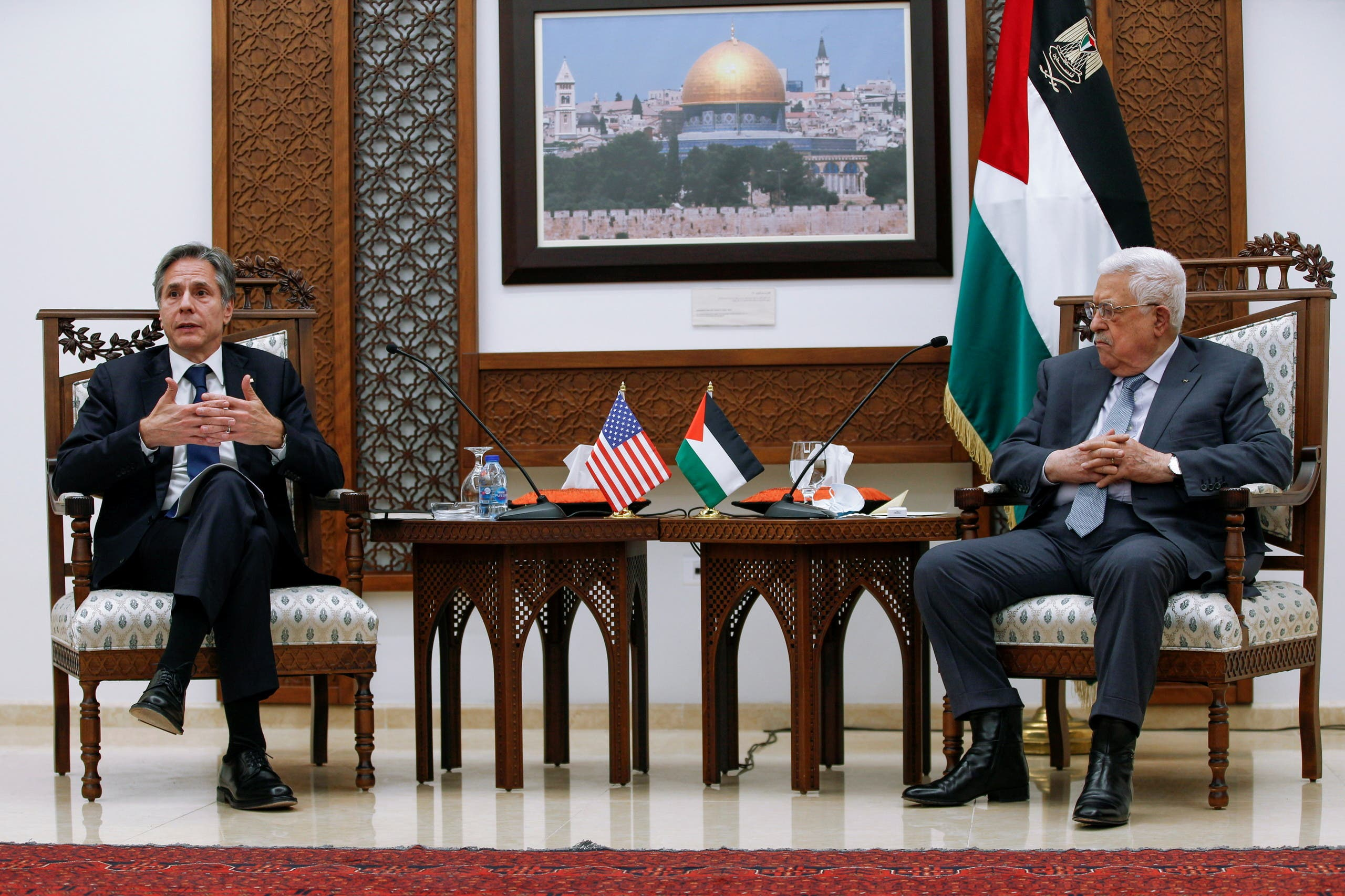 U.S. Secretary of State Antony Blinken speaks with Palestinian President Mahmoud Abbas, in the West Bank city of Ramallah, May 25, 2021. (Reuters)