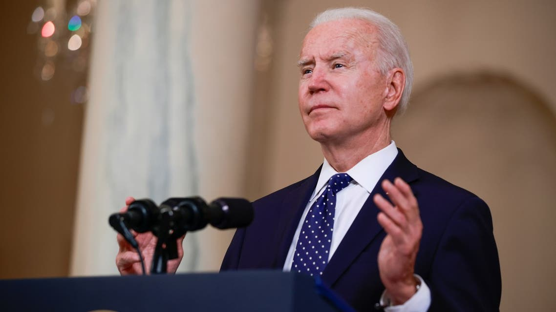 President Joe Biden in the Cross Hall at the White House, April 20, 2021. (Reuters)