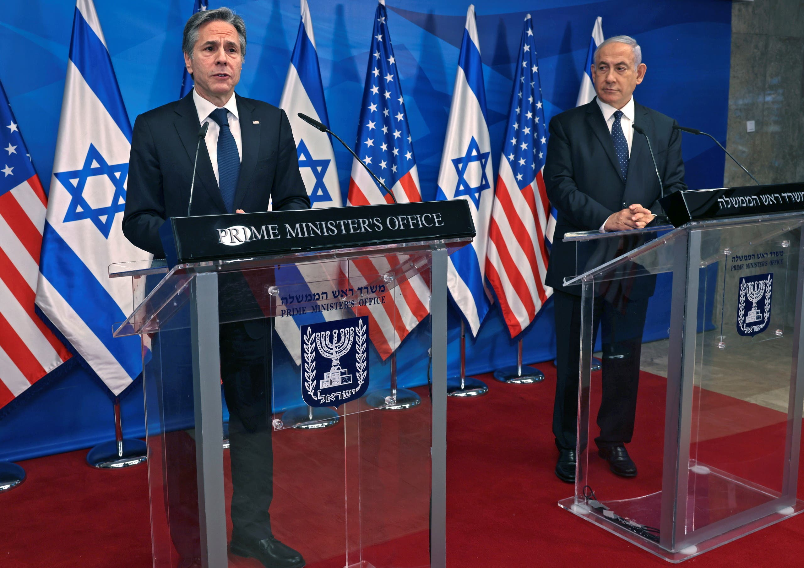 Israeli Prime Minister Netanyahu and US Secretary of State Blinken hold a joint news conference in Jerusalem. (Reuters)