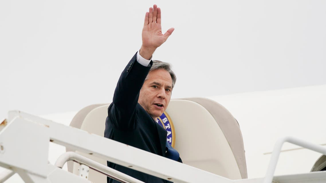 Secretary of State Antony Blinken waves as he departs, Monday, May 24, 2021, at Andrews Air Force Base, Md. Blinken is en route to the Middle East. (AP)