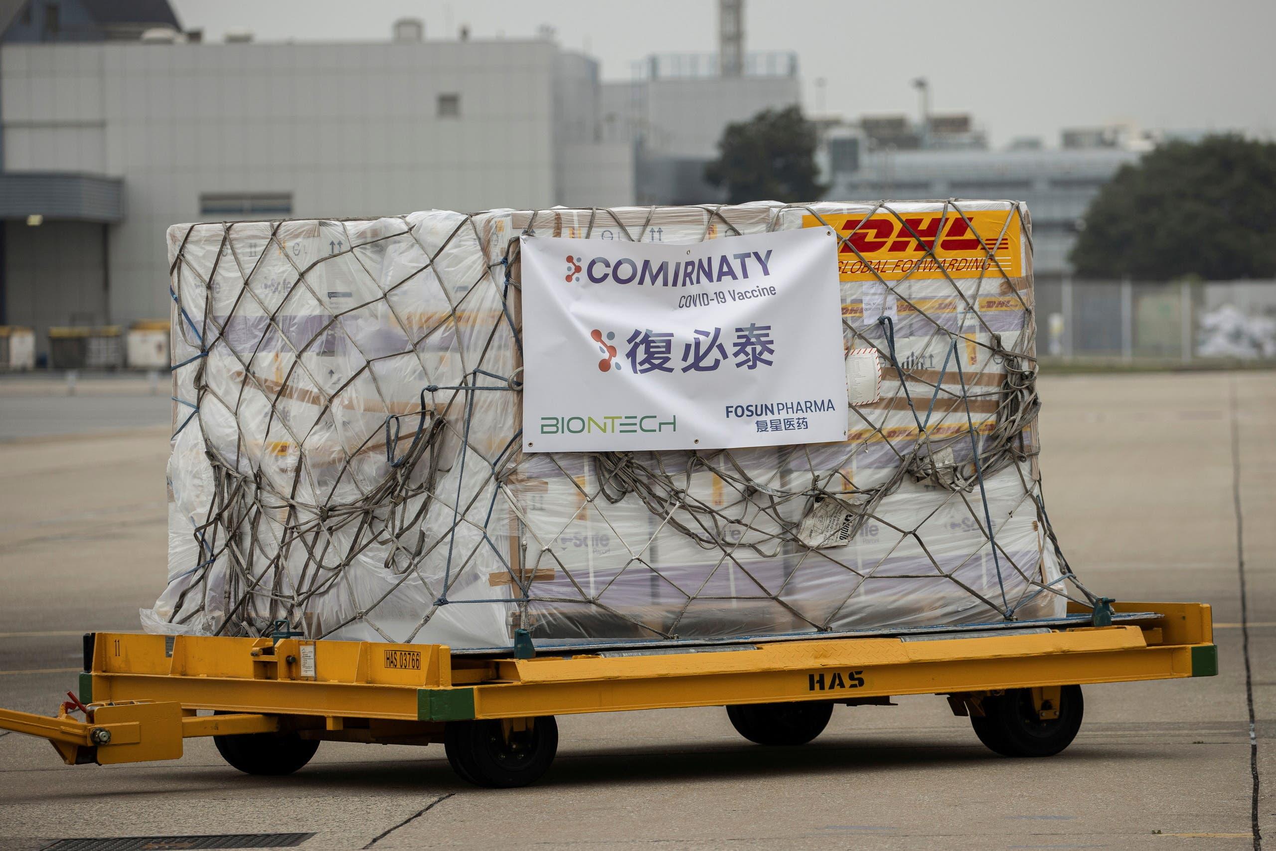 شحنة من لقاح فايزر وصلت هونغ كونغ في فبراير الماضي