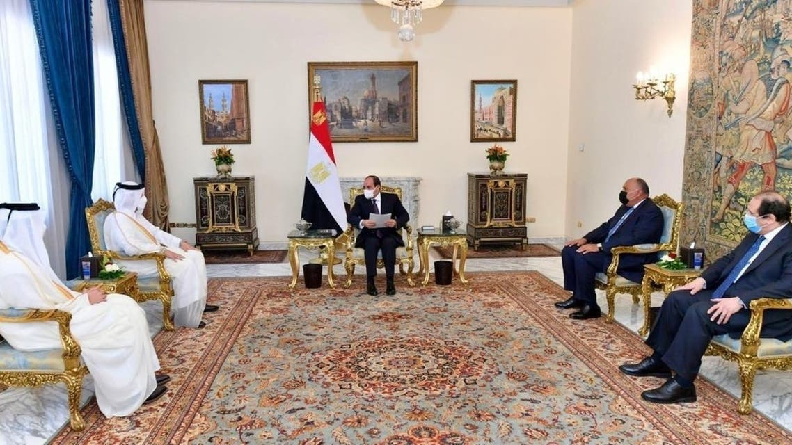 President Abdel Fattah el-Sissi and Qatar's Foreign Minister Mohammad bin Abdulrahman Al Thani, meeting in Cairo, May 25, 2021. (Qatar News Agency Twitter)