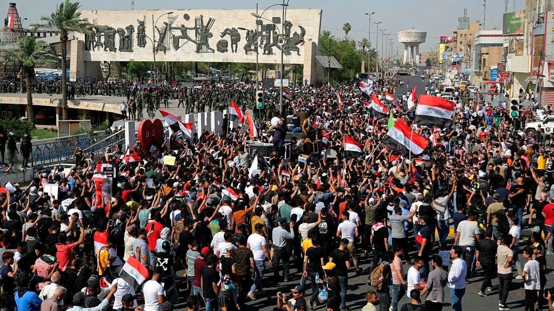 Iraqi protesters demonstrate in Tahrir Square in Baghdad, Iraq, May 25, 2021. (AP/Hadi Mizban)