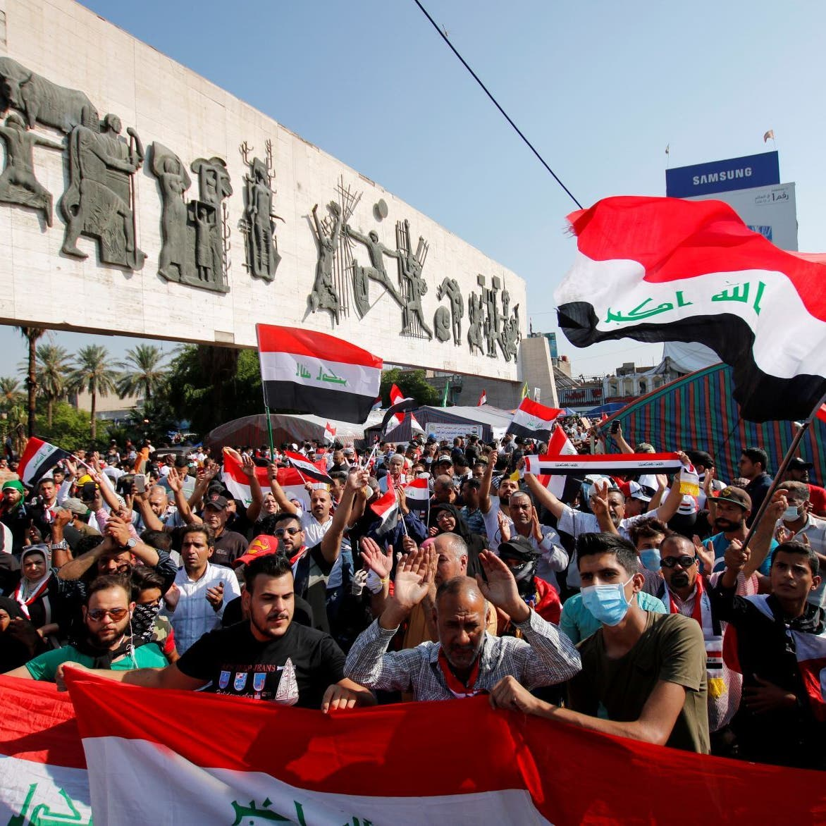 بغداد.. مقتل ناشط بطلق ناري وجرح 13 في تظاهرة ساحة التحرير