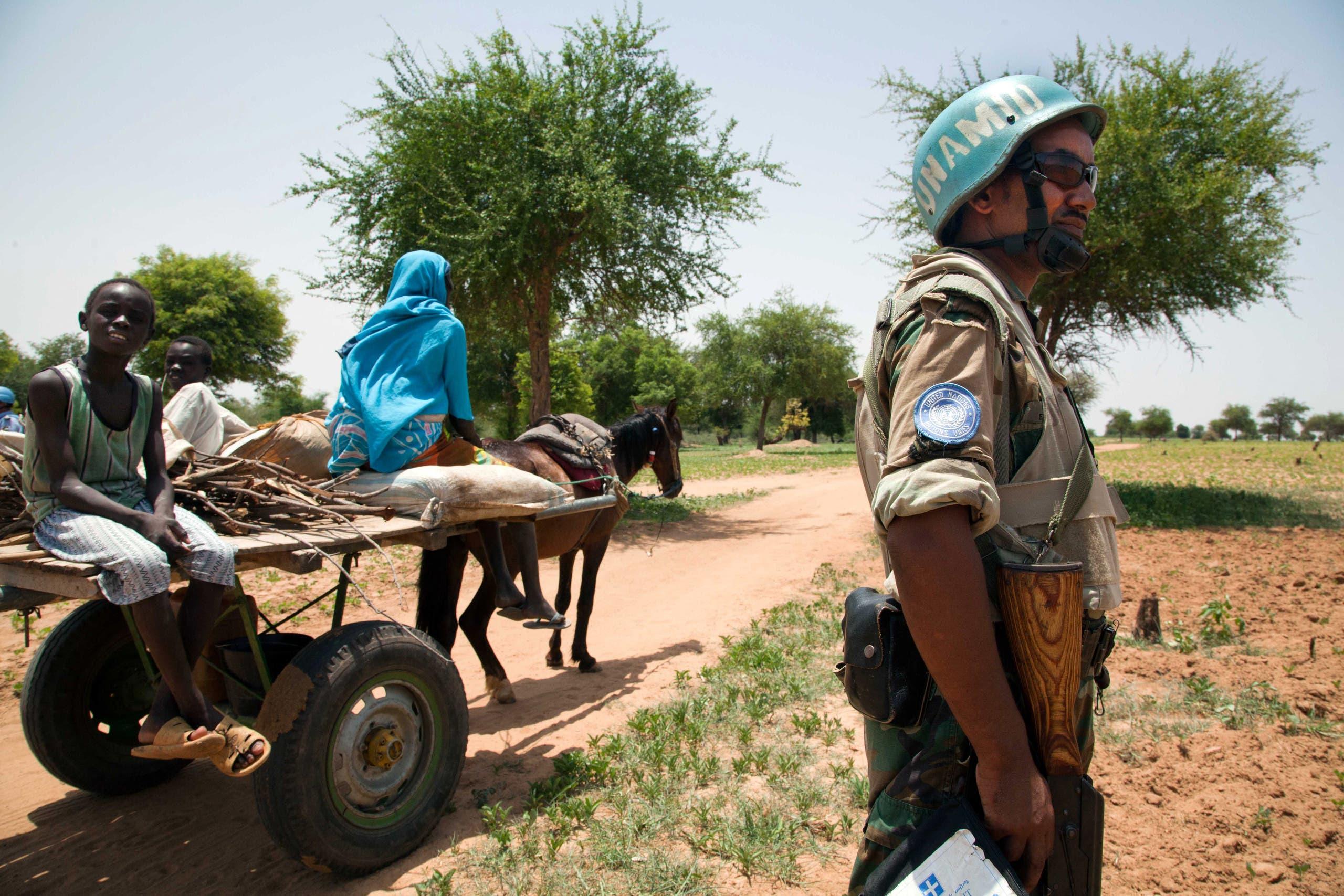 جندي إثيوبي في دارفور ضمن القوة الأممية (أرشيفية)