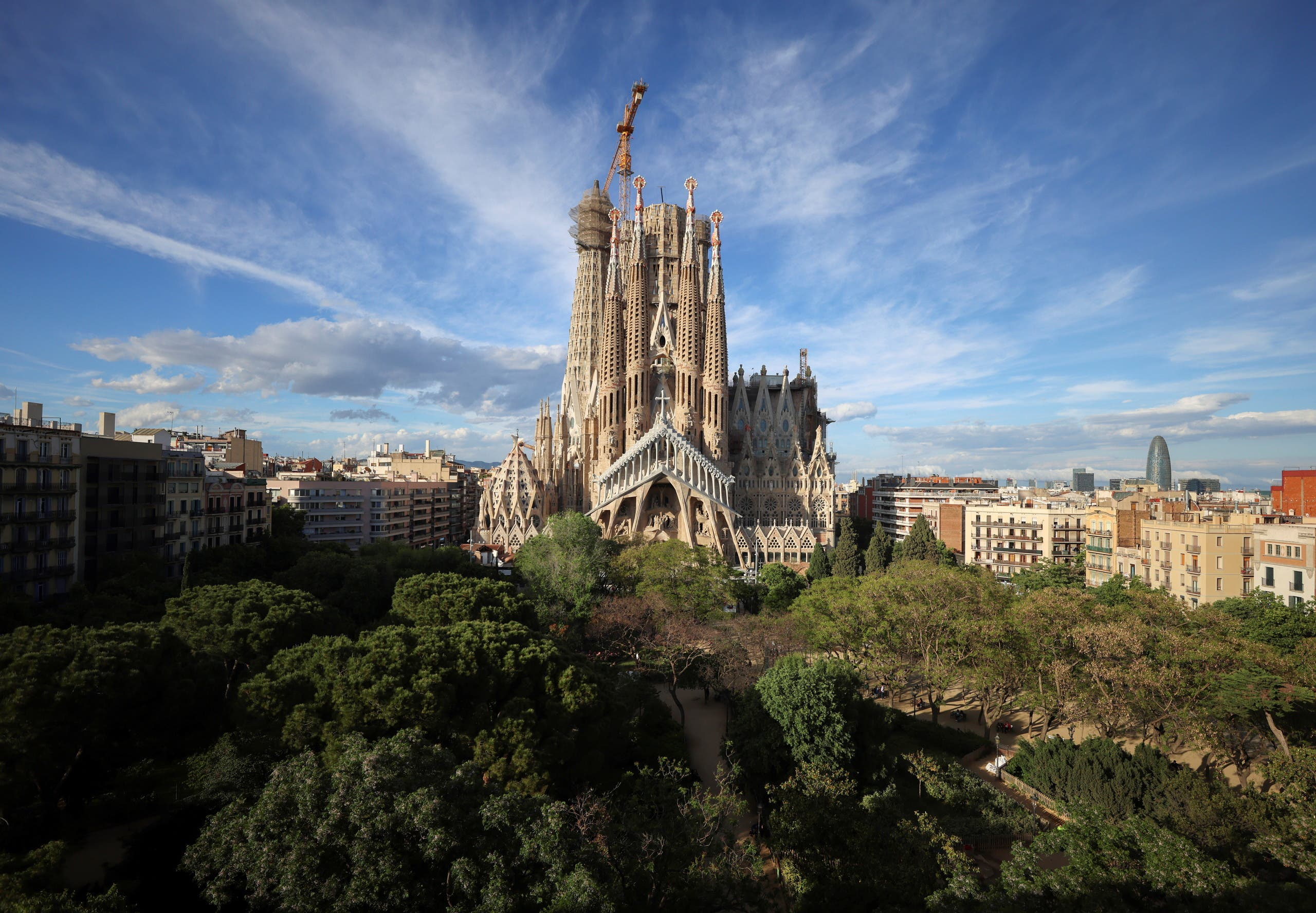 The landmark of Sagrada Familia basilica, called Facade of Passion is seen, closed since October of last year, delaying its target of finishing construction by 2026, amid the coronavirus disease (COVID-19) pandemic in Barcelona Spain, May 24, 2021. (Reuters)