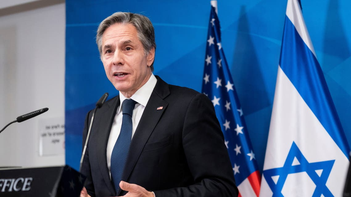 US Secretary of State Antony Blinken speaks during a joint statement with Israeli Prime Minister Benjamin Netanyahu at the Prime Minister's office, in Jerusalem May 25, 2021. (Reuters)