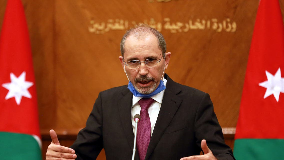 Jordanian Foreign Minister Ayman Safadi is pictured in the Jordanian capital Amman during an international meeting to discuss the Israel-Palestinian peace process, on September 24, 2020.