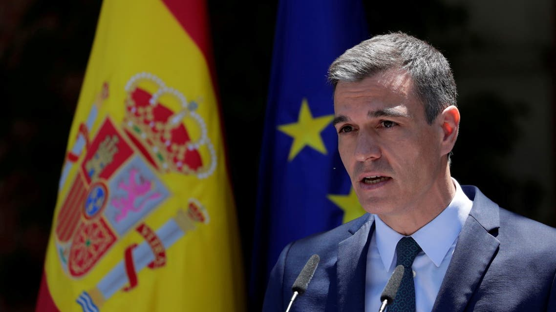 FILE PHOTO: Spain's Prime Minister Pedro Sanchez attends a news conference at the Moncloa Palace in Madrid, Spain, May 18, 2021. Manu Fernandez/Pool via REUTERS/File Photo