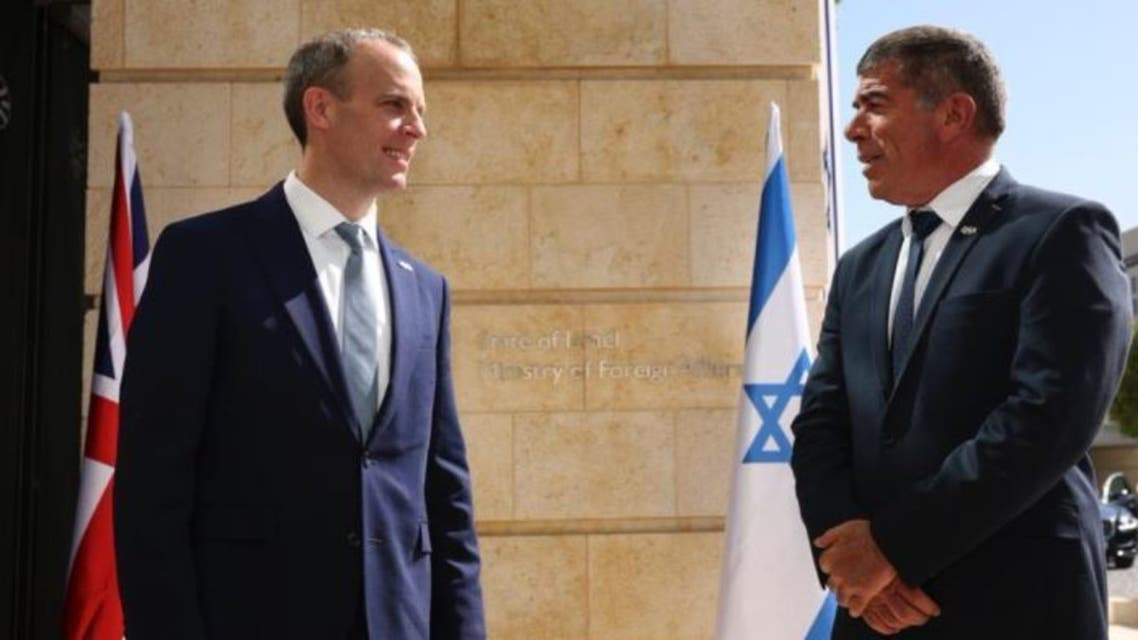 UK Foreign Secretary Dominic Raab and his Israeli counterpart Gabi Ashkenazi. (Twitter)