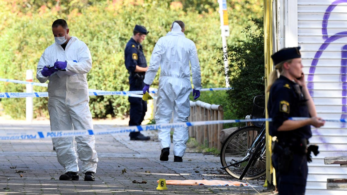 Police and criminal technical investigators work at the site of a shooting in Ribersborg, Malmo, Sweden, August 26, 2019. (Reuters)