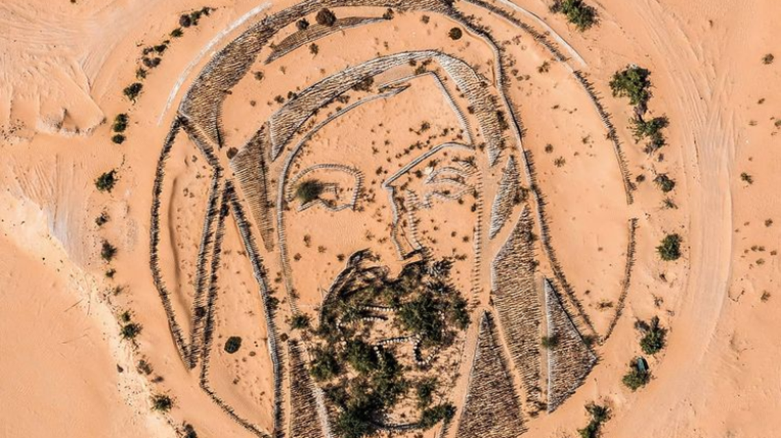 Aerial-view image of Sheikh Zayed tribute in the Ajman desert, taken and posted on Instagram by @alphaspottings. (Screengrab)
