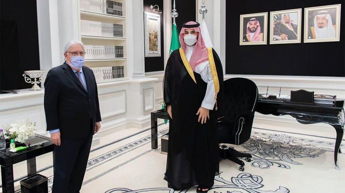 Saudi Arabia's Deputy Minister of Defense Prince Khalid bin Salman meets with the UN Special Envoy for Yemen and US Special Envoy for Yemen Tim Lenderking in Riyadh. (SPA)