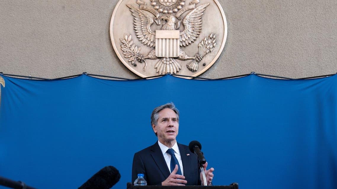 US Secretary of State Antony Blinken speaks as he greets staff members of the U.S. Embassy to Egypt, in Cairo, Egypt. (Reuters)