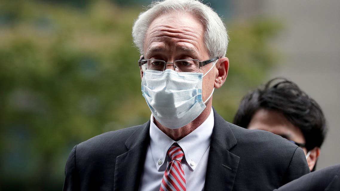 Greg Kelly, former representative director of Nissan Motor Co., arrives for the first trial hearing at the Tokyo District Court in Tokyo, Japan, September 15, 2020. (Reuters)