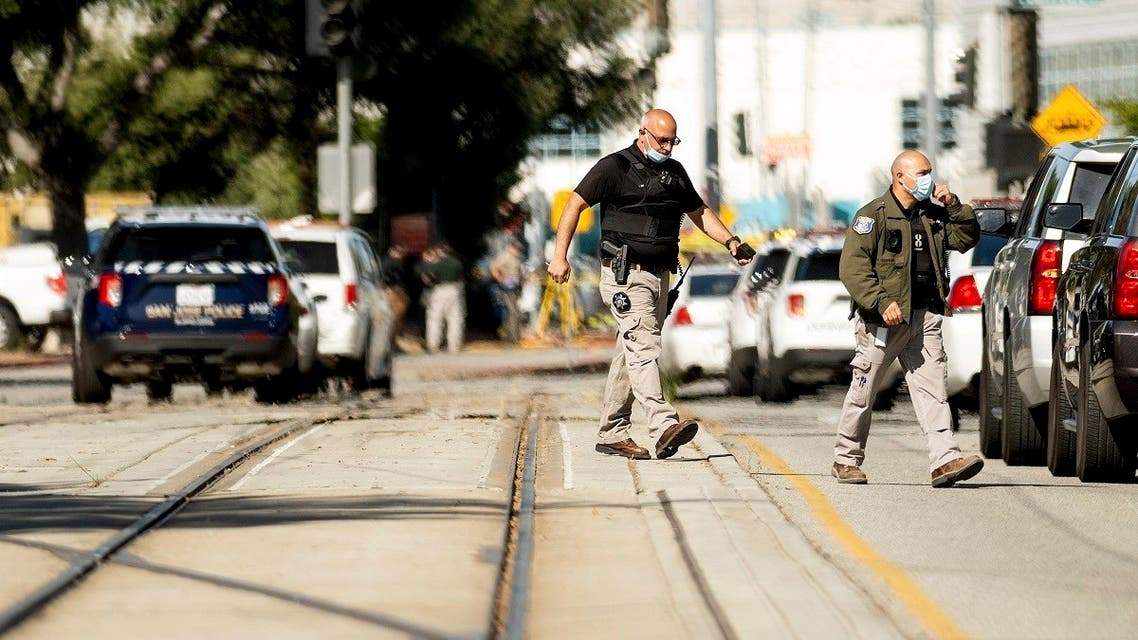 Law enforcement officers respond to the scene of a shooting at a Santa Clara Valley Transportation Authority (VTA) facility on Wednesday, May 26, 2021, in San Jose, Calif. Santa Clara County sheriff's spokesman said the railyard shooting left multiple people, including the shooter, dead. (AP)