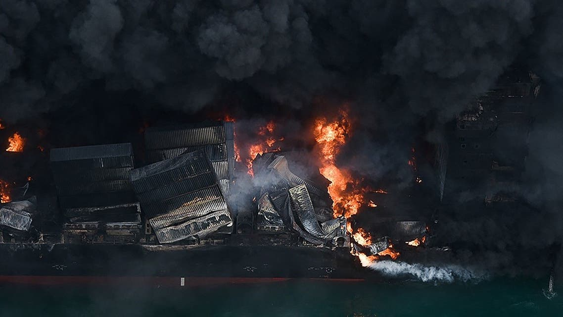 This photo released by the Sri Lanka Air Force on May 26, 2021 shows flames and thick smoke billowing from the Singapore-registered container ship MV X-Press Pearl in the sea off Sri Lanka's Colombo Harbour. (Sri Lanka Air Force/AFP)