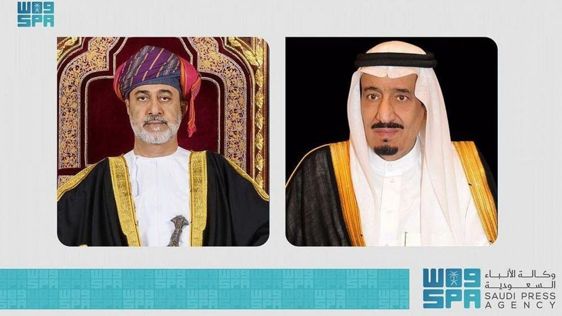 Saudi Arabia's King Salman bin Abdulaziz and Oman's Sultan Haitham bin Tarik. (SPA)