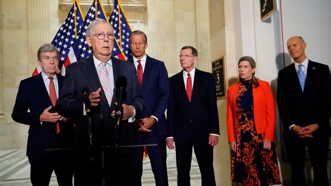 Senate Minority Leader Mitch McConnell speaks during a news conference with fellow Republican senators on Capitol Hill May 25, 2021. (Reuters)