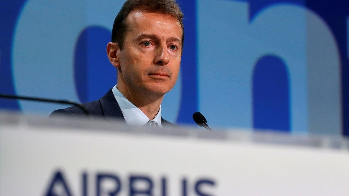 Airbus CEO Guillaume Faury attends annual news conference  in Blagnac near Toulouse, France, on February 13, 2020. (Reuters)
