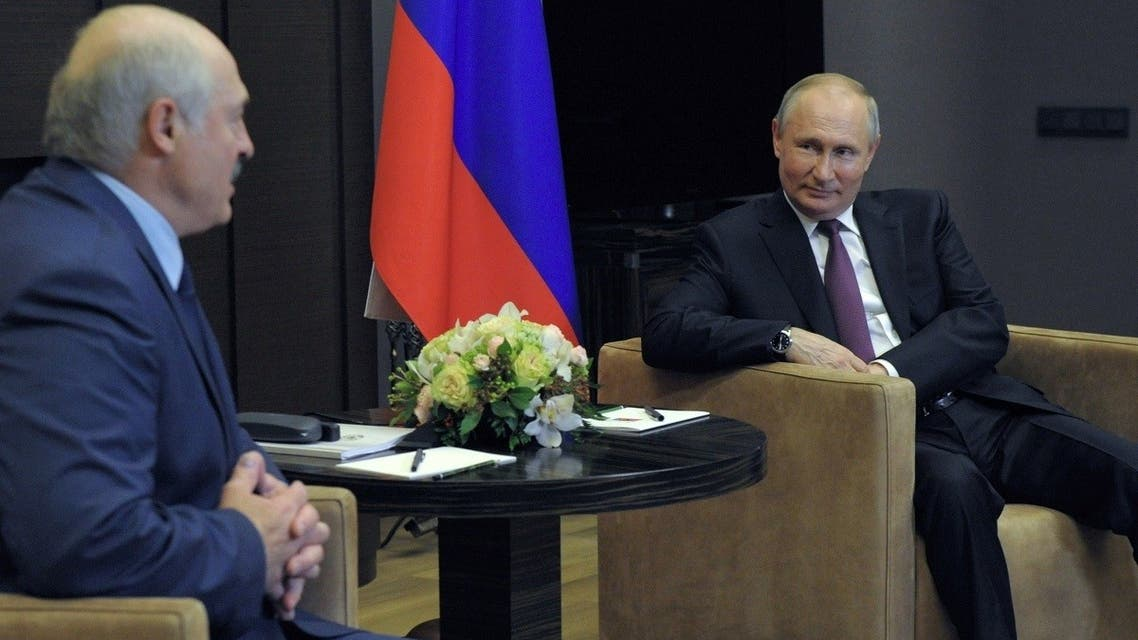 Russian President Vladimir Putin meets with his Belarusian counterpart Alexander Lukashenko in Sochi, Russia, on May 28, 2021. (Reuters)