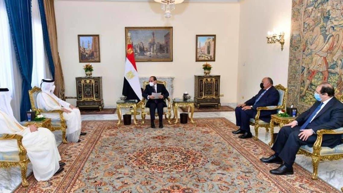 السيسي يستقبل وزير خارجية قطر