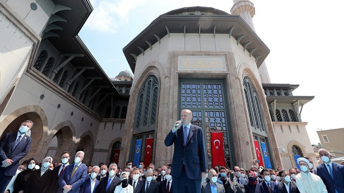 Turkish President Tayyip Erdogan speaks during the inauguration of Taksim Mosque in central Istanbul, Turkey, on May 28, 2021. (Reuters)
