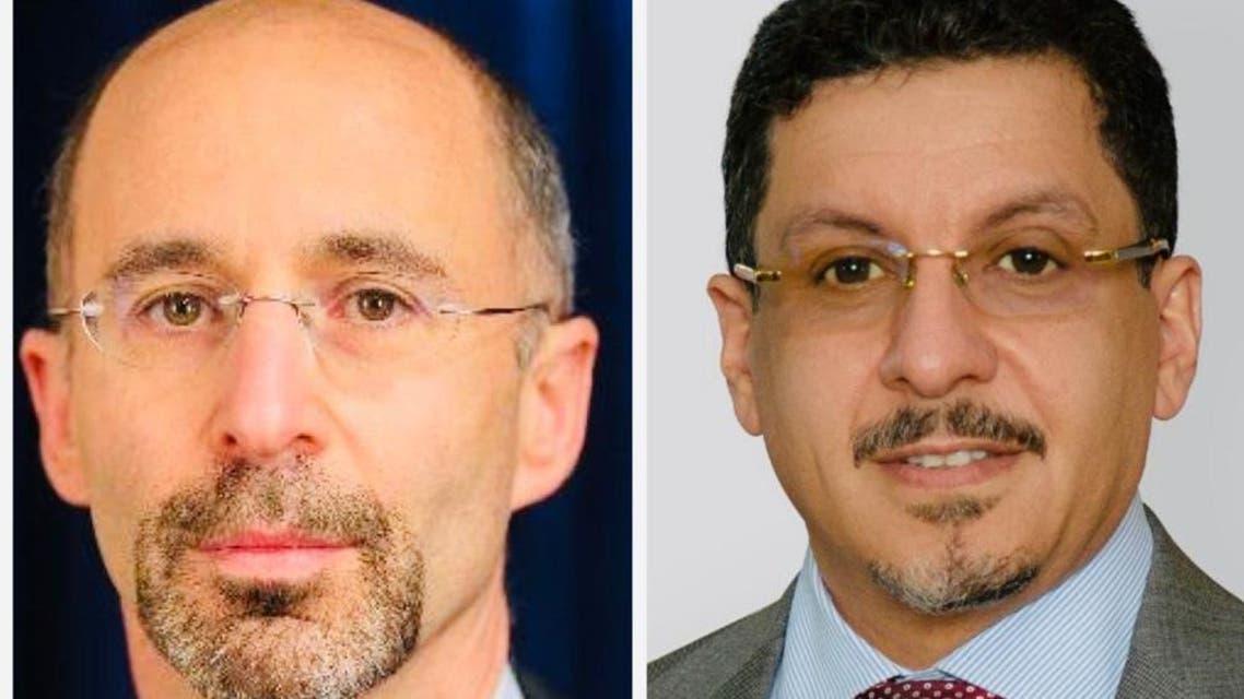 (سبأ الجديدة) وزير الخارجية اليمني (يمين) والمبعوث الأميركي إلى إيران روبرت مالي (يسار)