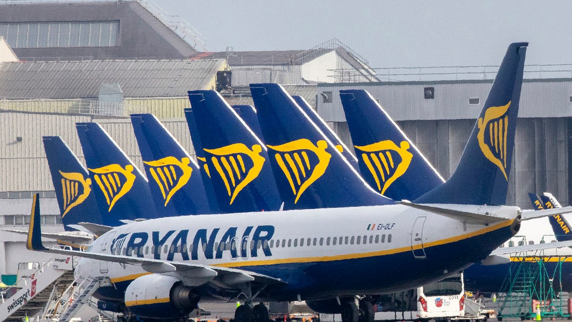 Ryanair passenger jets are seen on the tarmac at Dublin airport on March 23, 2020. Ryanair will cancel most if not all of its flights from next on March 24, said the Irish no-frills airline as the coronavirus outbreak grounds planes worldwide. (File photo: AFP)