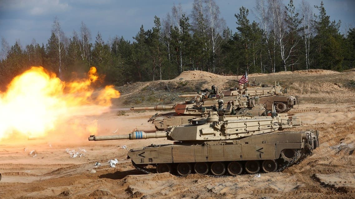 US Army M1A1 Abrams tank fires during NATO enhanced Forward Presence battlegroup military exercise Crystal Arrow 2021 in Adazi, Latvia, on March 26, 2021.  (Reuters)