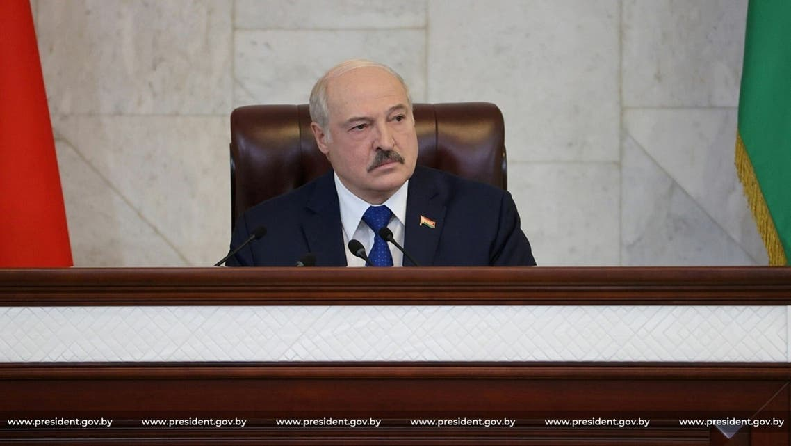 Belarusian President Alexander Lukashenko delivers a speech during a meeting with parliamentarians, members of the Constitutional Commission and representatives of public administration bodies, in Minsk, Belarus, on May 26, 2021. (Russia)