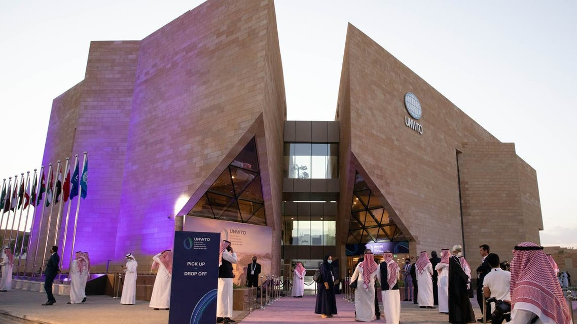 Outside the UNWTO's Regional Office in Riyadh, Saudi Arabia, during the opening on May 26, 2021. (Twitter)