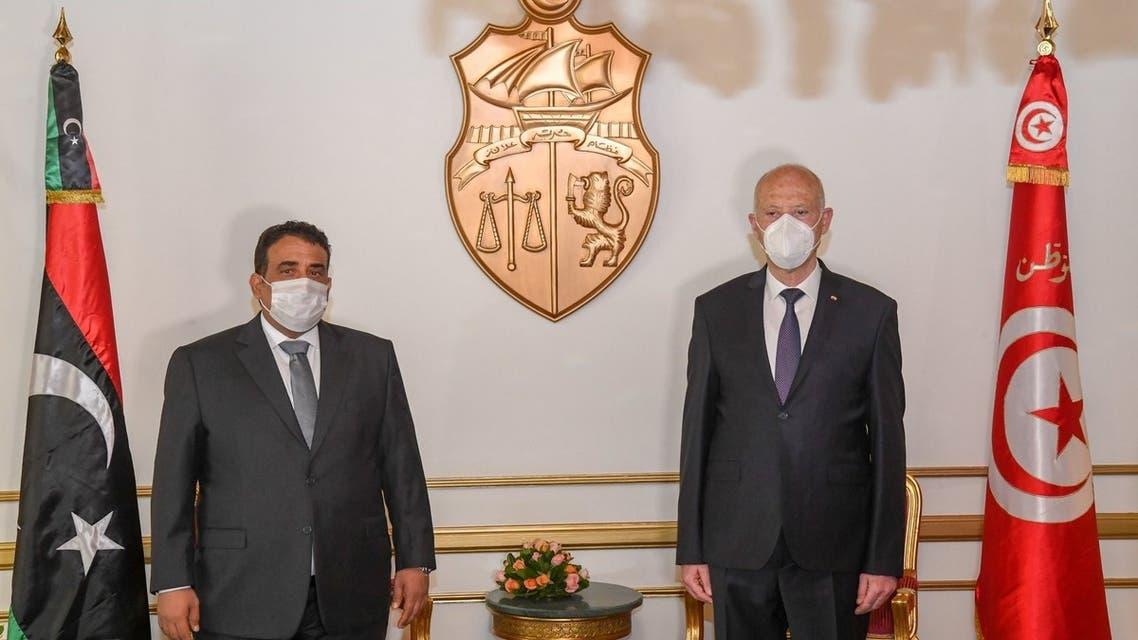 رئيس تونس قيس سعيد يستقبل رئيس المجلس الرئاسي الليبي محمد المنفي