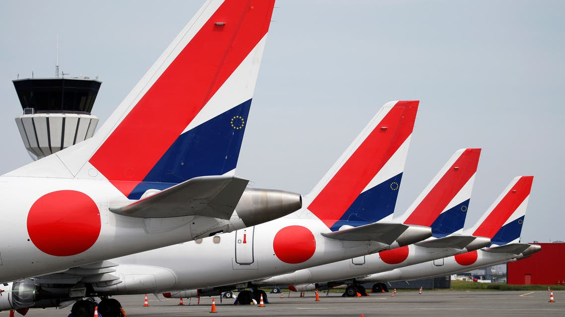 HOP! for AIRFRANCE Embraer 170 aircrafts are parked on the tarmac at Lille-Lesquin Airport following the coronavirus disease (COVID-19) outbreak, in Lesquin, France, May 7, 2020. (Reuters)