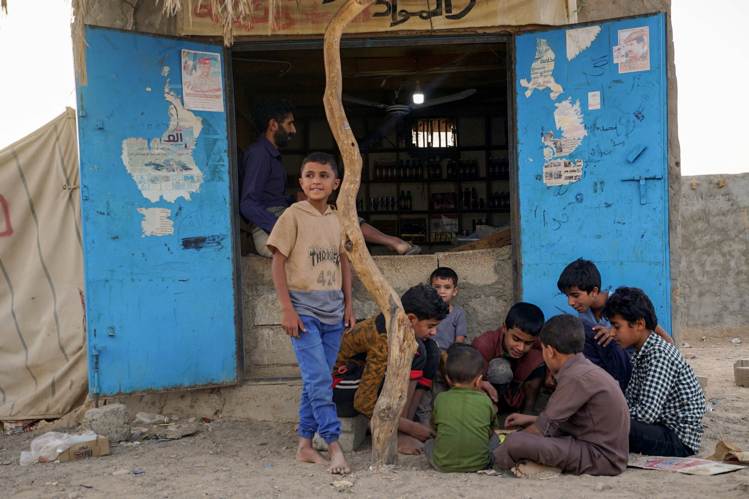 Displaced children in a warehouse in Marib (Reuters archive)