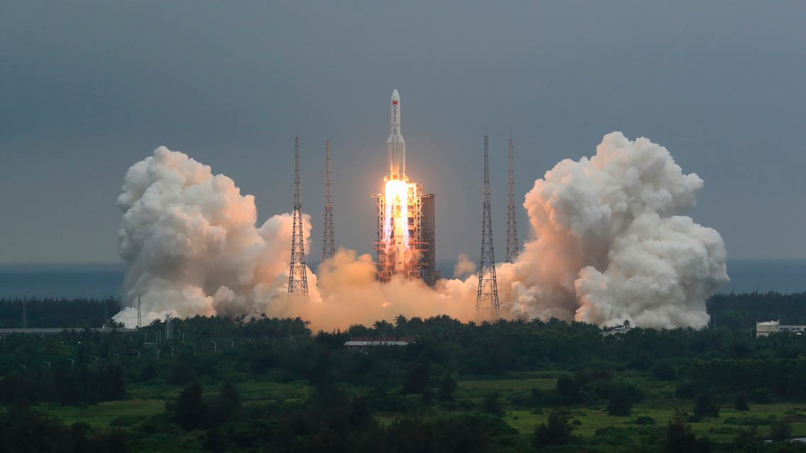 In this photo released by China's Xinhua News Agency, a Long March 5B rocket carrying a module for a Chinese space station lifts off from the Wenchang Spacecraft Launch Site in Wenchang in southern China's Hainan Province, Thursday, April 29, 2021. (AP)