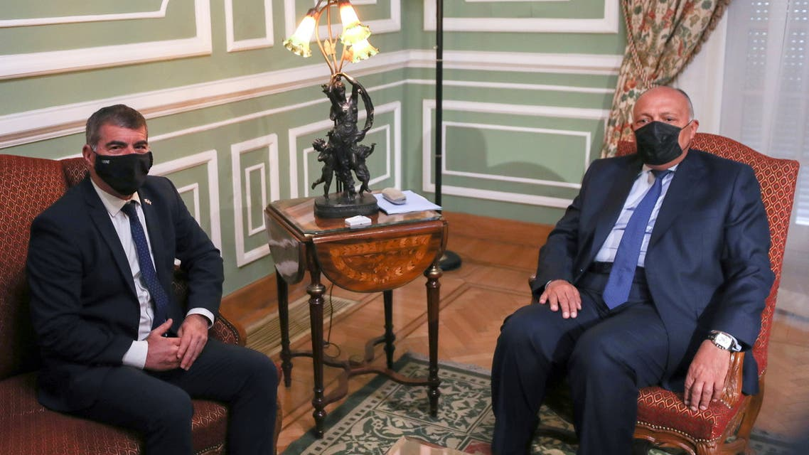 Egyptian Foreign Minister Sameh Shoukry meets with Israeli Foreign Minister Gabi Ashkenazi at Tahrir Palace in Cairo, Egypt May 30, 2021. (Reuters)