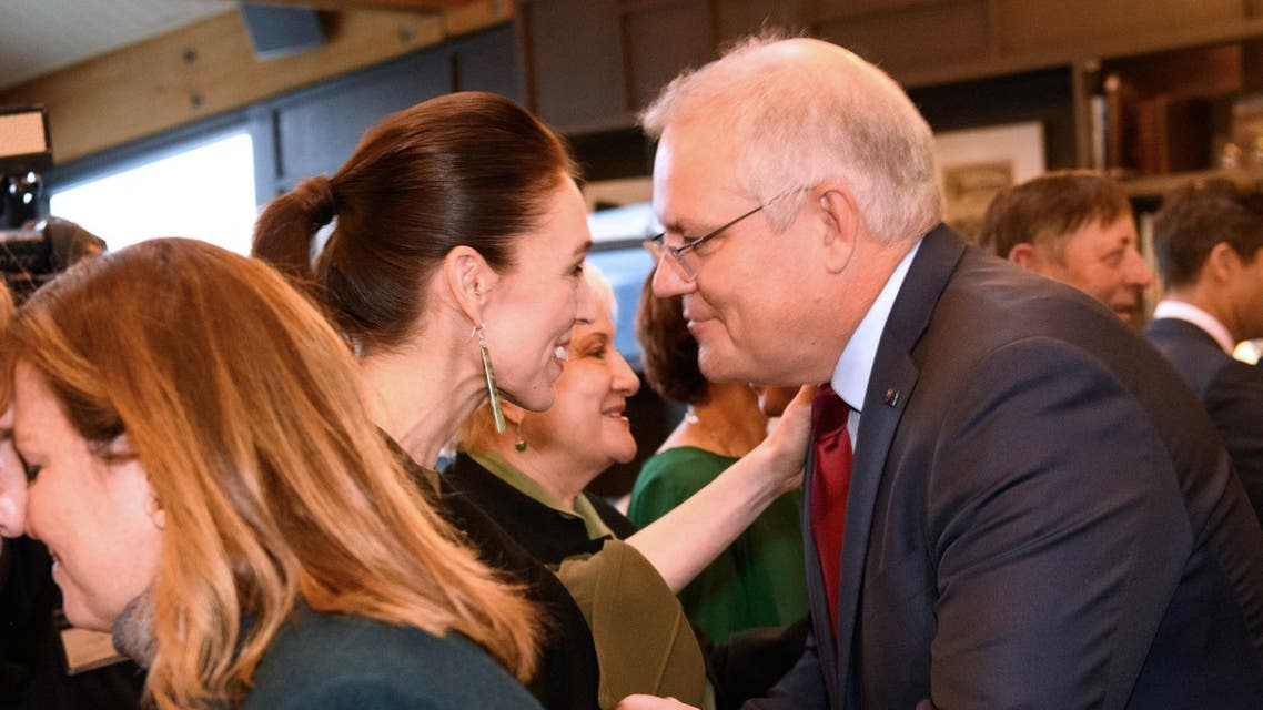 Australian Prime Minister Scott Morrison arrived in the tourist resort of Queenstown for an overnight visit Sunday. He greeted his New Zealand counterpart Jacinda Ardern with a traditional Maori hongi, in which the pair pressed noses together. (AFP)
