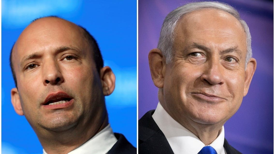 A combination of file photos show Israeli Prime Minister Benjamin Netanyahu at a news conference in Tel Aviv, Israel, March 8, 2021 and Israeli Education Minister Naftali Bennett during a reception in Jerusalem May 14, 2018.  (Reuters)
