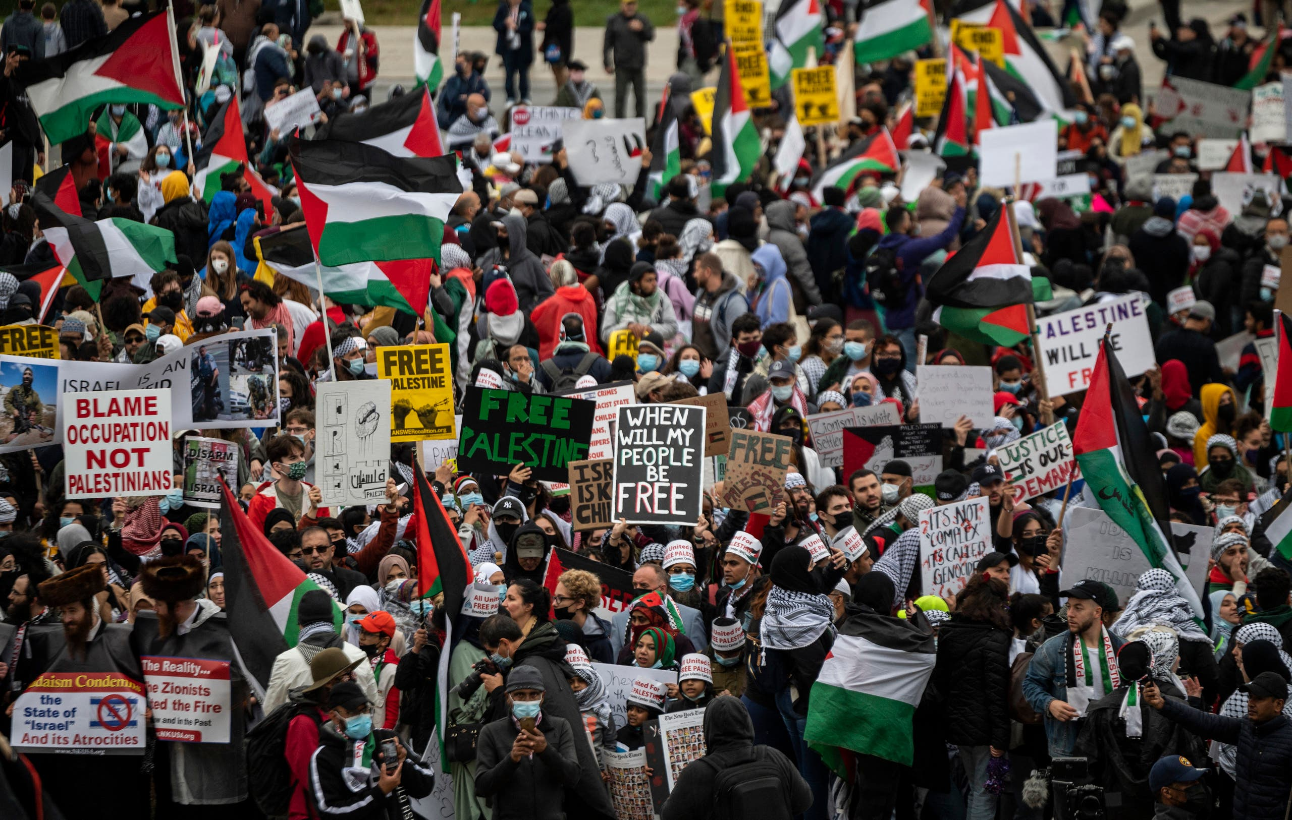 Supporters of Palestine hold a rally at the Lincoln Memorial in Washington, DC on May 29, 2021. (Reuters)
